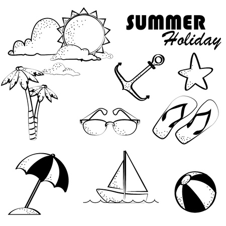 summer holiday over white background vector illustration  Vector