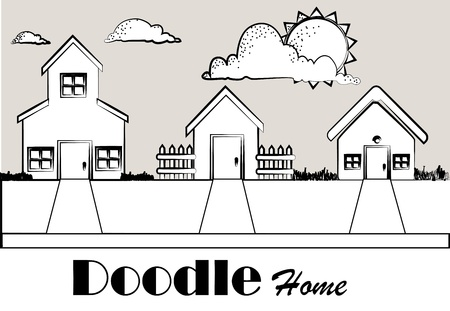 doodle home over monochrome background vector illustration  Vector