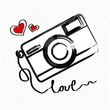 i love photographic over white background vector illustration   Ilustração