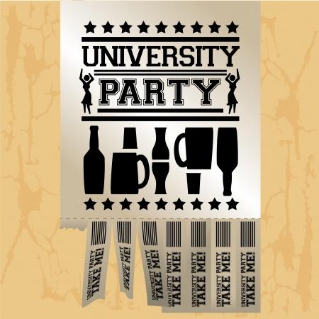 university party over vinatge background vecto illustration Vector