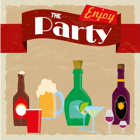 party label over vintage background vector illustration  Vector