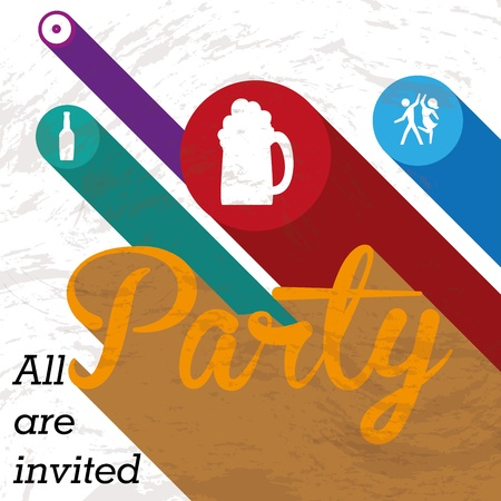 party label over whyte background vector illustration  Vector