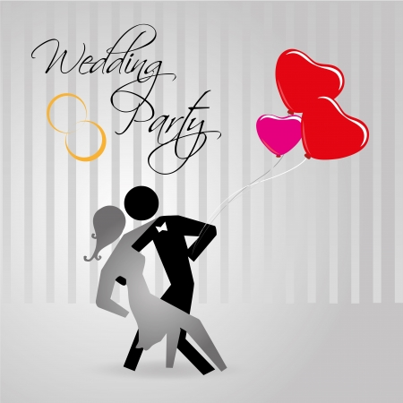 prom night: wedding party over gray background vector illustration