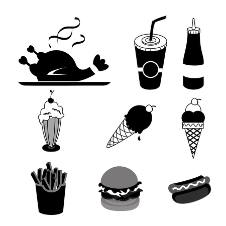 food and drinks silhouettes over white background vector illustration  Vector