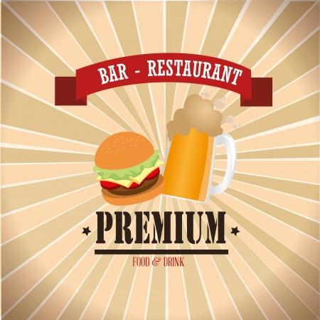 bar and restaurant label over grunge background vector illustration  Vector