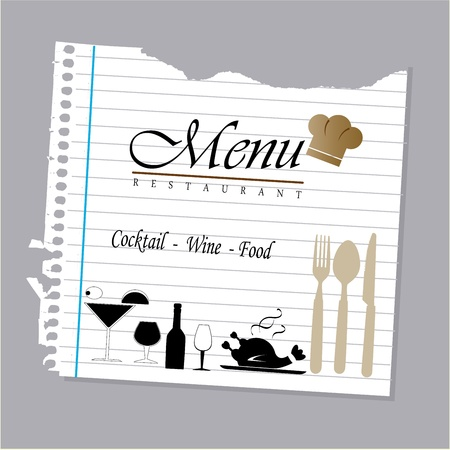 menu design over leaf book background vector illustration Vektoros illusztráció