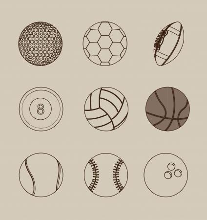 sport balls over beige background vector illustration Vector