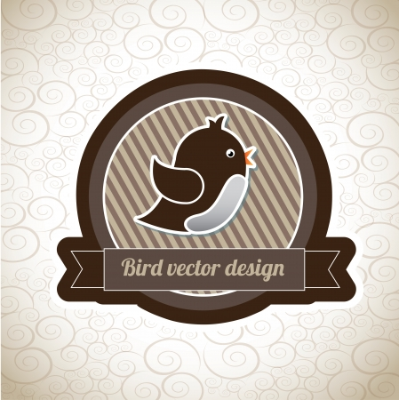 bird label over vintage background vector illustration