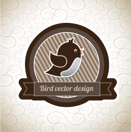 bird label over vintage background vector illustration Reklamní fotografie - 20556155