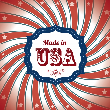 made: made in usa over flag background vector illustration