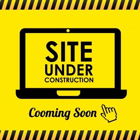 黄色の背景ベクトル イラスト工事中サイト  イラスト・ベクター素材