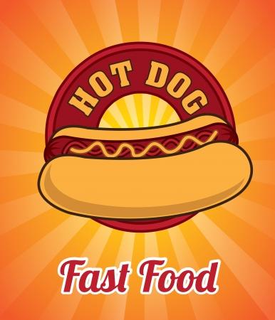 hot frame: hot dog design over orange background vector illustration