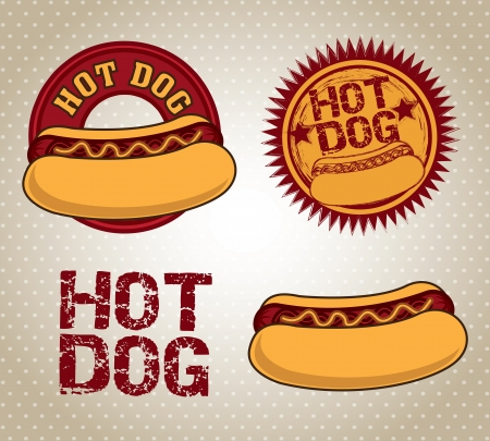 hot dog icons over dotted background vector illustration  Vector