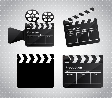 movie film over gray dotted background vector illutration Vector