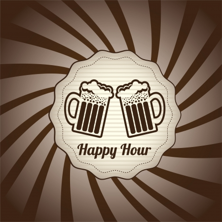 happy hour design over grunge background vector illustration  Vector