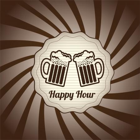 beer bar: happy hour design over grunge background vector illustration