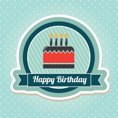 birthday cupcakes: cake seal over dotted background vector illustration  Illustration