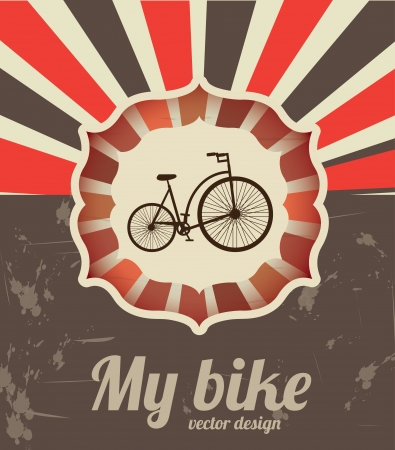 my bike design over grunge background vector illustration  Vector