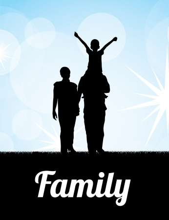happy couple at home: family silhouette over sky background  vector illustration
