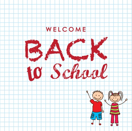 welcome back to school over grid background vector illustration  Ilustração