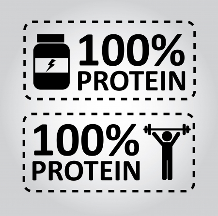 protein: protein labels over gray background vector illustration
