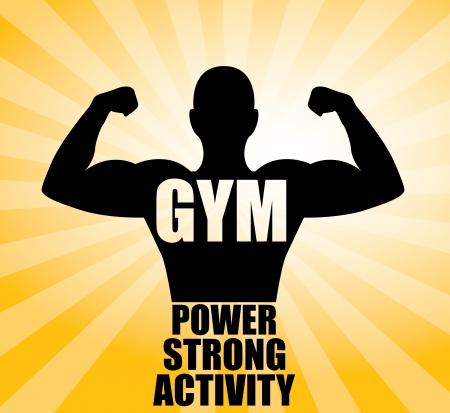 hombre levantando pesas: dise�o de gimnasio sobre fondo amarillo ilustraci�n vectorial