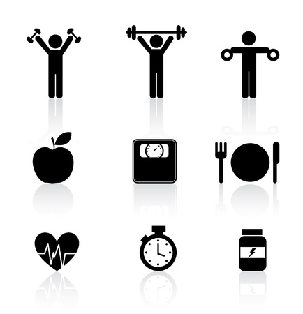 масса: Фитнес-иконки на белом фоне векторные иллюстрации