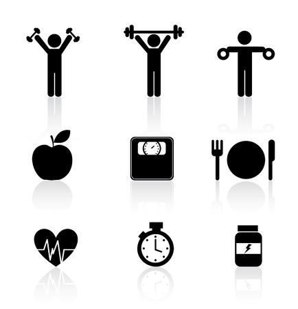 weights: icone di fitness su sfondo bianco, illustrazione vettoriale Vettoriali