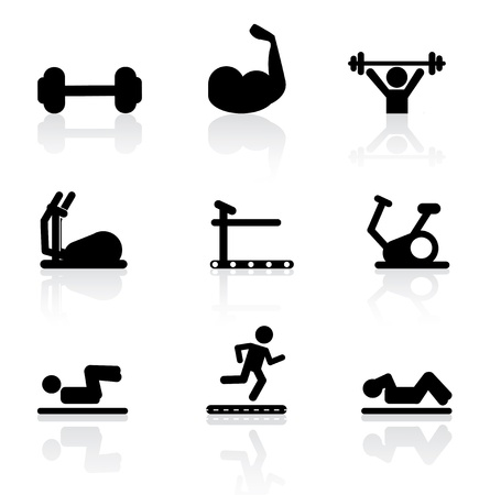 hombre levantando pesas: iconos gimnasio sobre fondo blanco ilustraci�n vectorial Vectores