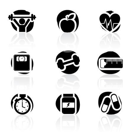 hombre levantando pesas: Iconos de la aptitud sobre el fondo blanco ilustraci�n vectorial