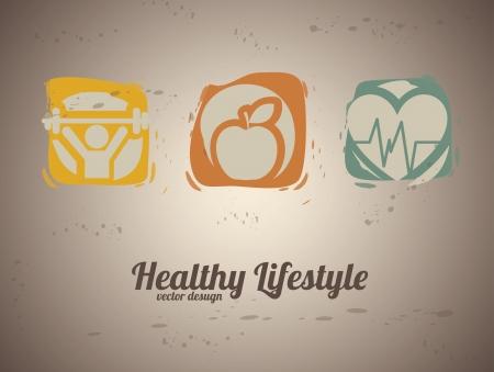 ビンテージ背景ベクトル イラスト健康的なライフ スタイル