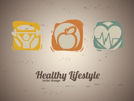 lifestyle: healthy lifestyle over vintage background vector illustration