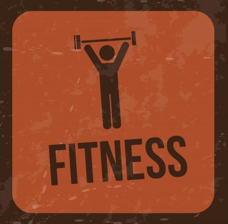gym equipment: disegno di fitness su sfondo vintage illustrazione vettoriale