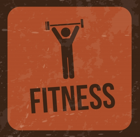 man lifting weights: fitness design over vintage background vector illustration