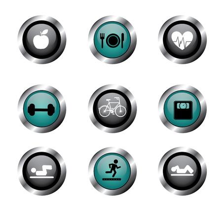 hombre levantando pesas: botones de aptitud sobre fondo blanco ilustraci�n vectorial
