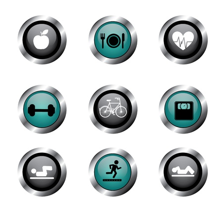 man lifting weights: fitness buttons over white background vector illustration