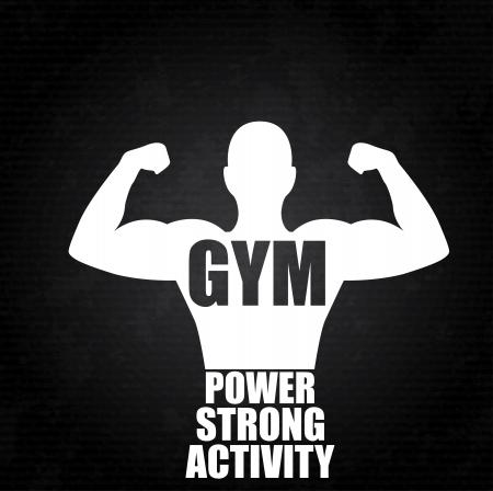 muskeltraining: Fitness-Studio-Design auf schwarzem Hintergrund Vektor-Illustration Illustration