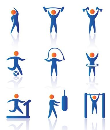 sportschool pictogrammen op witte achtergrond vector illustratie Vector Illustratie