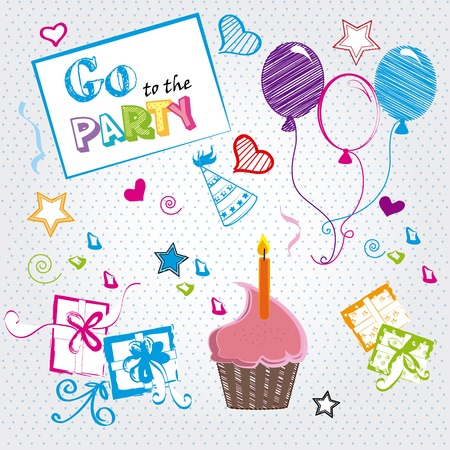 party balloons: go to the party over dotted background vector illustration Illustration