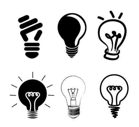 bombillo ahorrador: bulbos iconos sobre fondo blanco Vectores