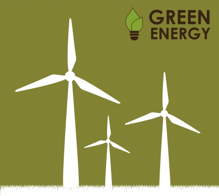 wind turbine: green energy over green background  Illustration
