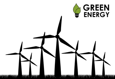 wind turbines: green energy over white background