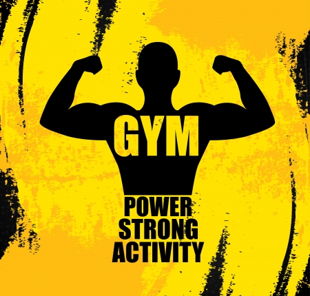 body building: gym design over yellow background