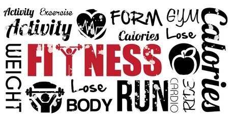 Fitness-Design auf weißem Hintergrund