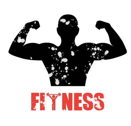 heathy: fitness silhouette over white background