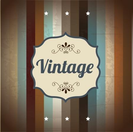 vintage frame over wooden background Illustration