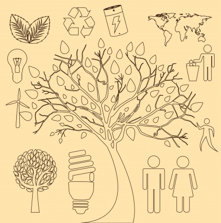 tree ecology icons over cream background  Vector