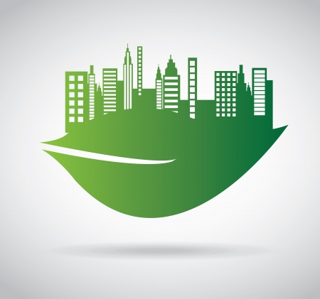 green city over gray background  Vector