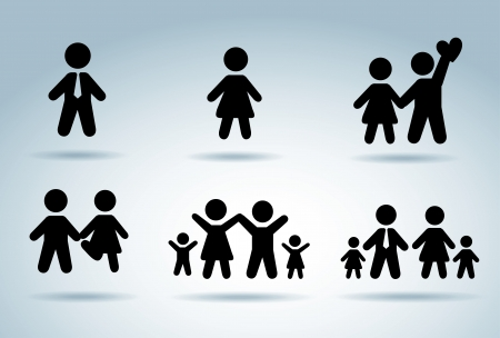 bussinesman: family silhouettes over blue background