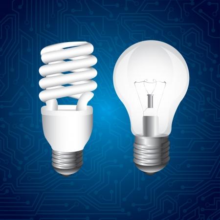 bombillo ahorrador: lámparas de diseño sobre fondo azul Vectores